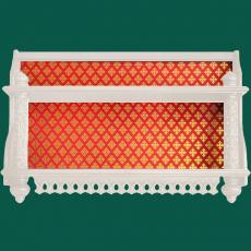Двухъярусная прямая полка для икон с тканью  (белая)