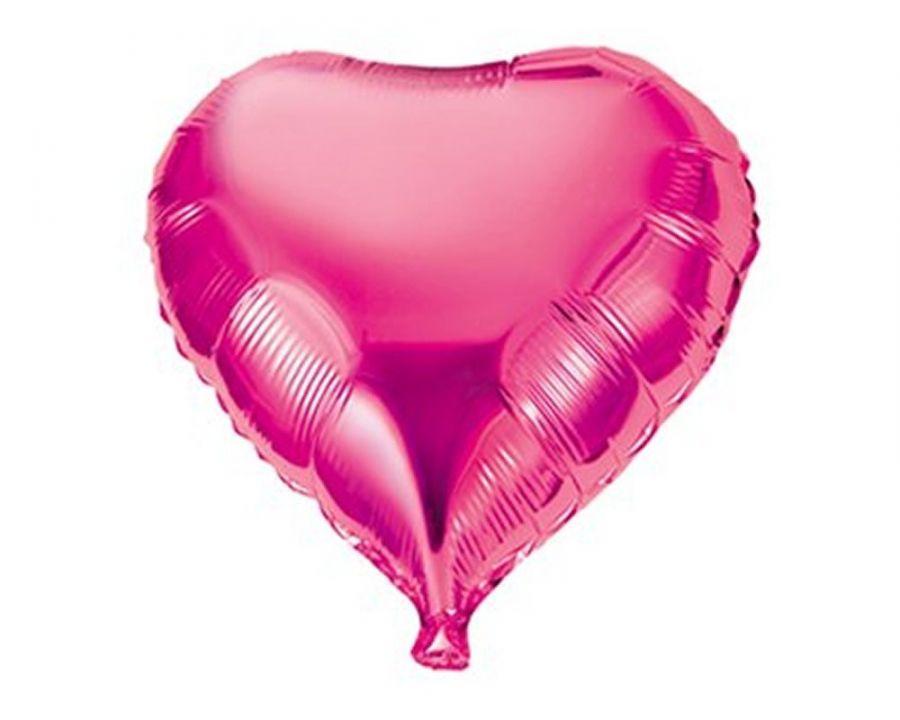 """Шар фольга с гелием  без рисунка Сердце 18"""" Пион розовый"""