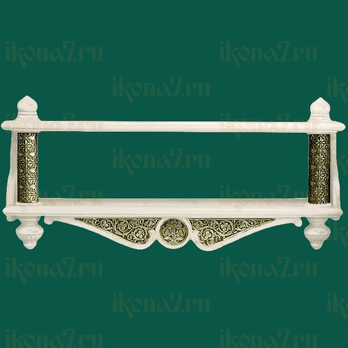 Двухъярусная прямая полка для икон с басмой (белая)