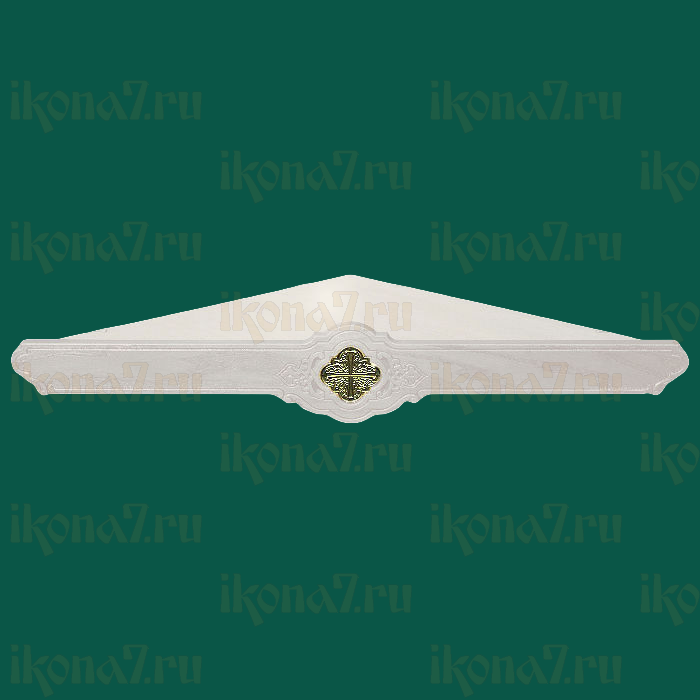 Одноярусная угловая полка для икон с вставкой (белая)