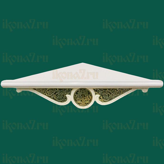 Угловая полка для икон с басмой (белая)
