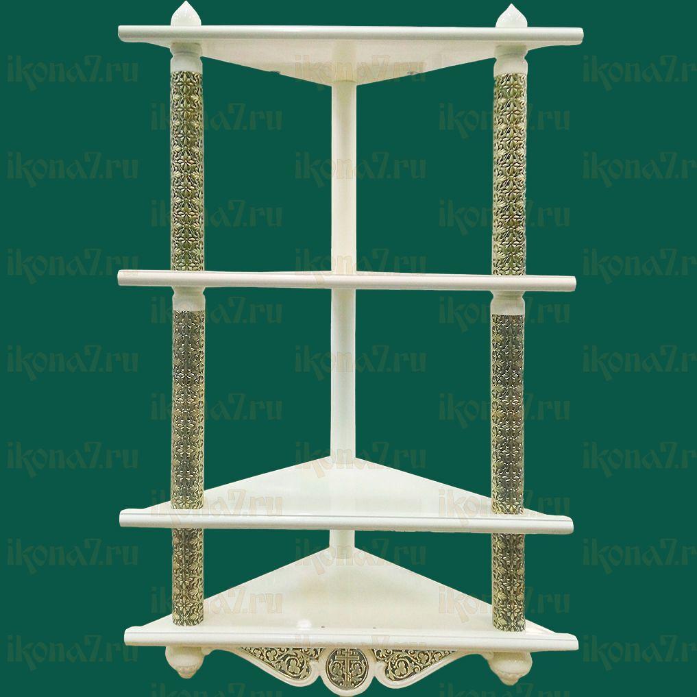 Четырехъярусная угловая полка для икон с басмой (белая)