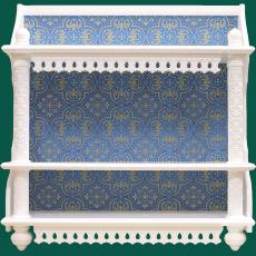 Трехъярусная прямая полка для икон с тканью (белая)