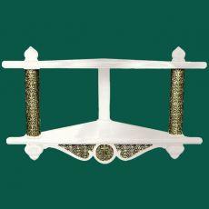 Двухъярусная угловая полка для икон с басмой (белая)