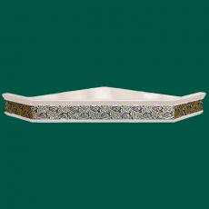Одноярусная угловая полка для икон с басмой стразы Виноград  (белая)
