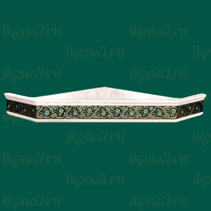 Одноярусная угловая полка для икон с басмой и простыми стразами (белая)