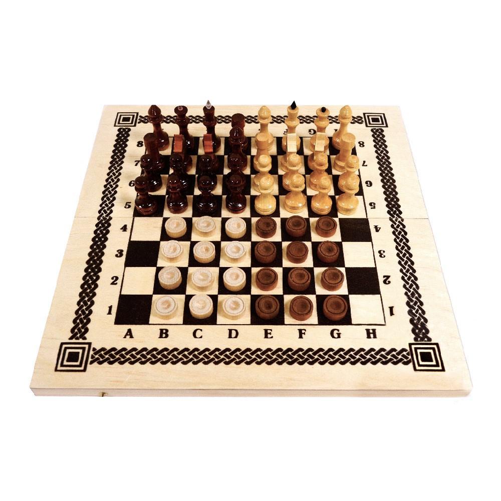 """Игра 2 в 1 """"Шахматы, шашки"""" арт.С-11а/В-6 (415*215*34)"""
