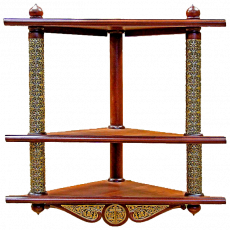 Трехъярусная угловая полка для икон с басмой