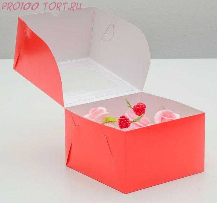 Упаковка для капкейков с окном на 4 шт, алая, 16 х 16 х 10 см