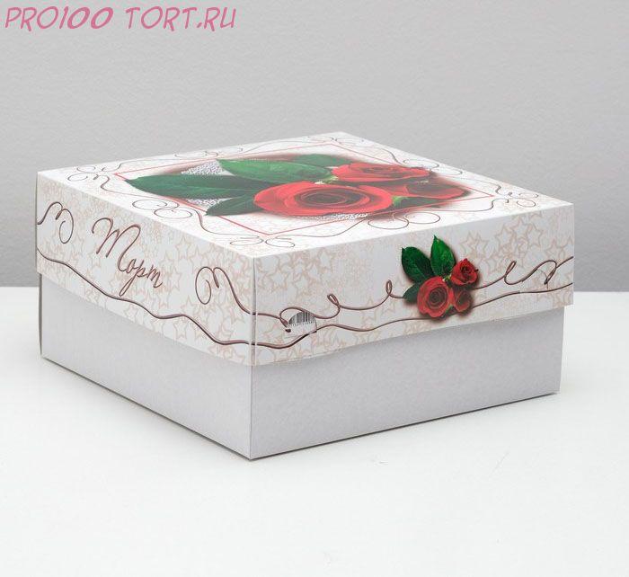 """Кондитерская упаковка для торта, """"Красные розы"""", 29,5 х 29,5 х 15 см"""