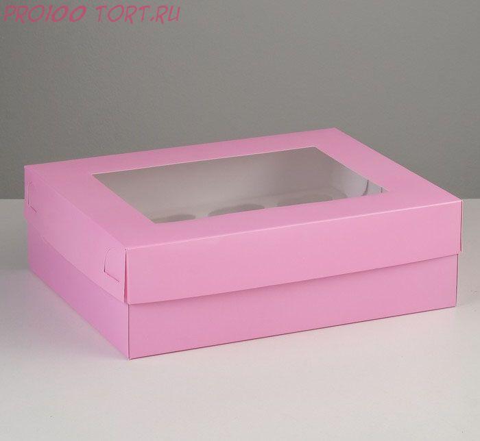 Коробка на 12 капкейков с окном, розовая, 32,5 х 25,5 х 10 см