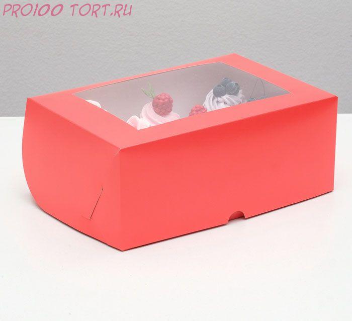 Коробка на 6 капкейков с окном, алая, 25 х 17 х 10 см