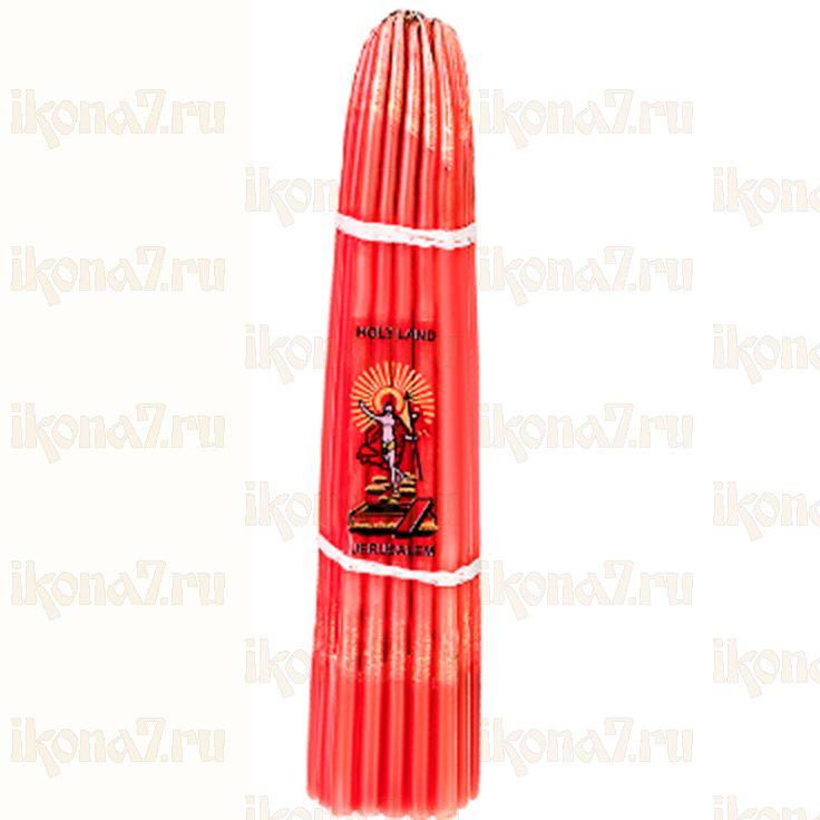 Свечи Иерусалимские красные конусные (24см, пучок 33 свечи)