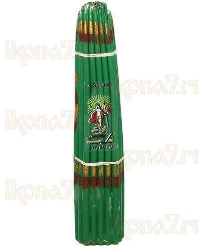 Свечи Иерусалимские зеленые конусные (24см, пучок 33 свечи)