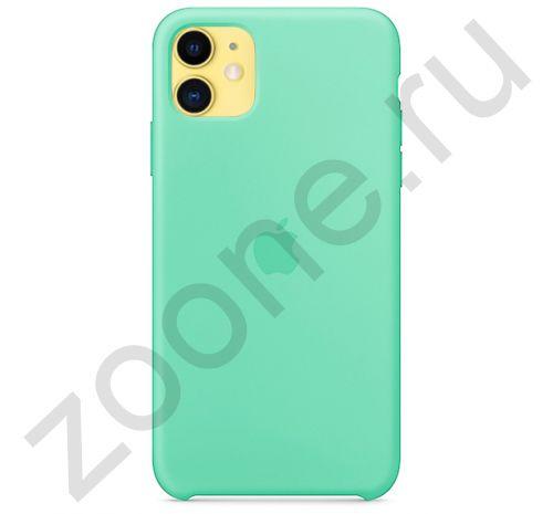 Чехол для iPhone 11 Silicone Case силиконовый зеленое яблоко