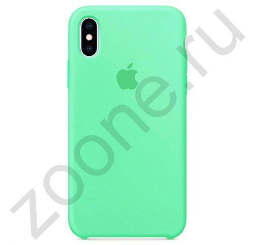 Силиконовый чехол цвета зеленого яблока для iPhone X/XS Silicone Case