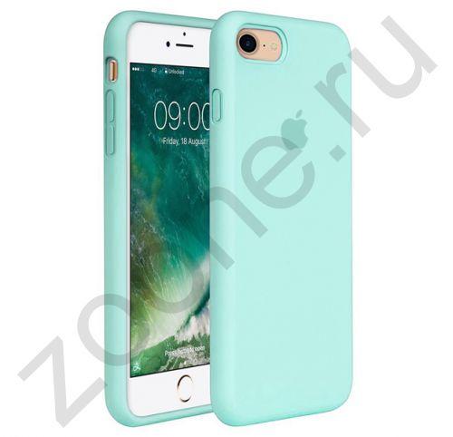Аквамариновый силиконовый чехол для iPhone 7/8 Silicone Case Full Cover