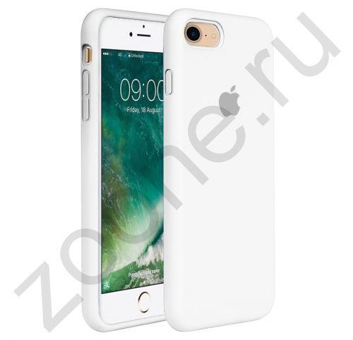Белый силиконовый чехол для iPhone 7/8 Silicone Case Full Cover