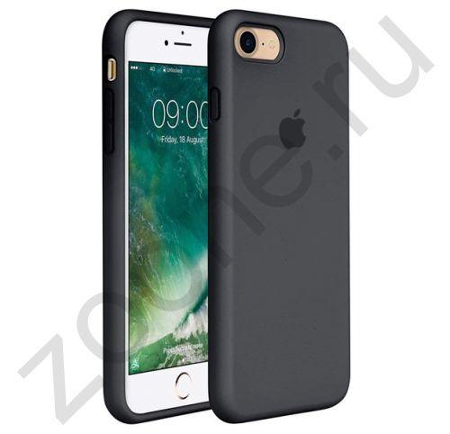 Черный силиконовый чехол для iPhone 7/8 Silicone Case Full Cover