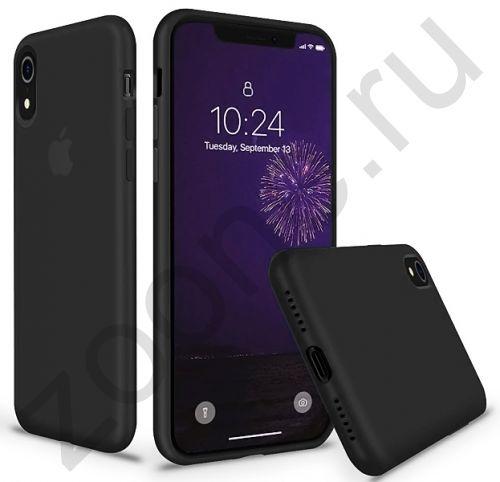 Черный силиконовый чехол для iPhone XR Silicone Case Full Cover