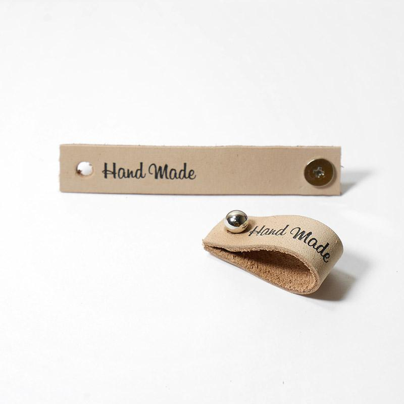 Бирка кожаная Hand Made с кнопкой 1,3х7см Бежевый