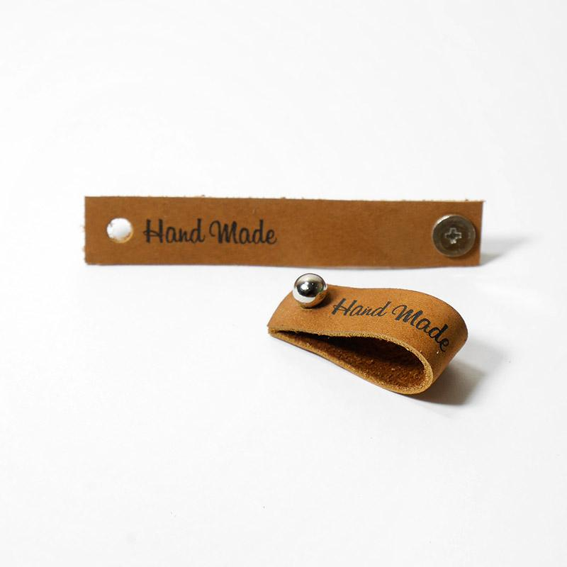 Бирка кожаная Hand Made с кнопкой 1,3х7см Коричневый