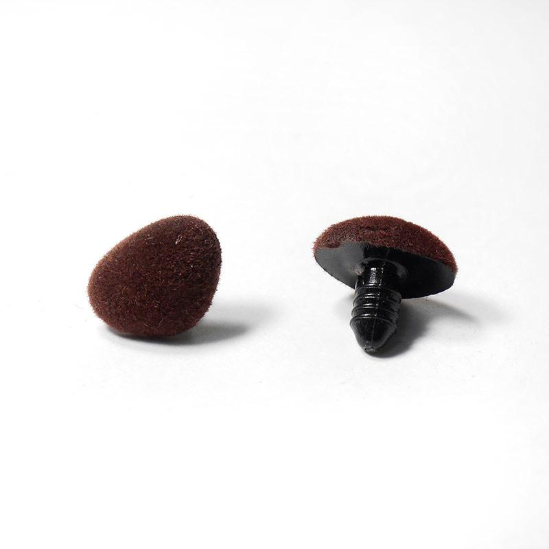 Носик винтовой бархатный 18х14мм коричневый ВНИМАНИЕ БРАК