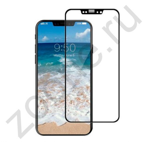 Черное защитное стекло для iPhone X/XS Full Frame Litu 3D Arc Edge Glass