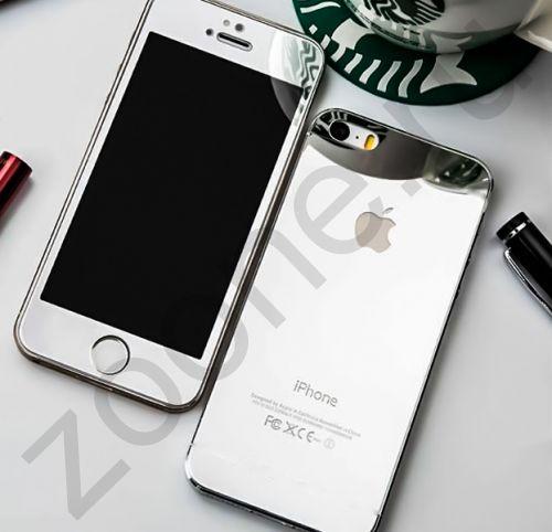 Зеркальное защитное стекло для iPhone 5/5s Colorful 2-в-1 Silver