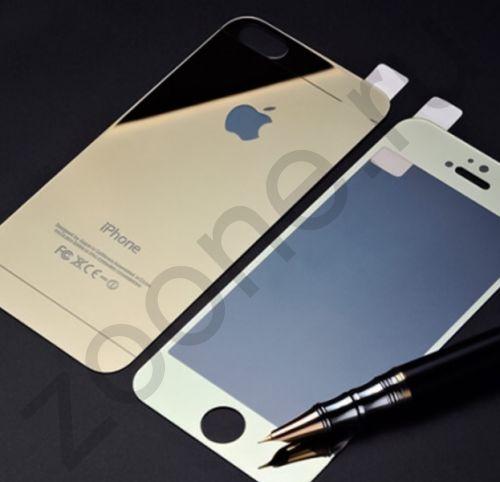 Зеркальное защитное стекло для iPhone 5/5s Colorful 2-в-1