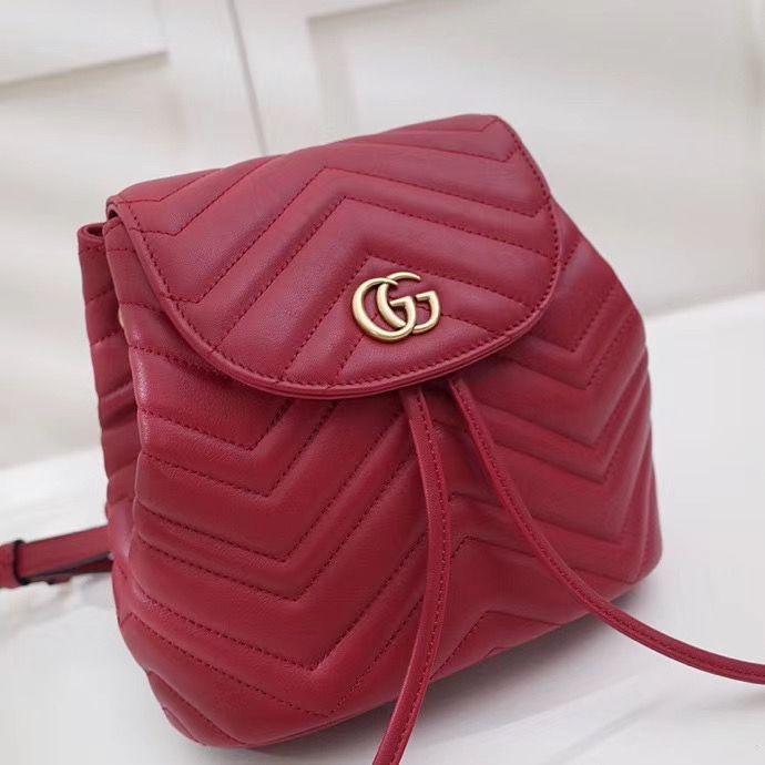 Стёганный мини рюкзак Gucci Marmont GG 21 см