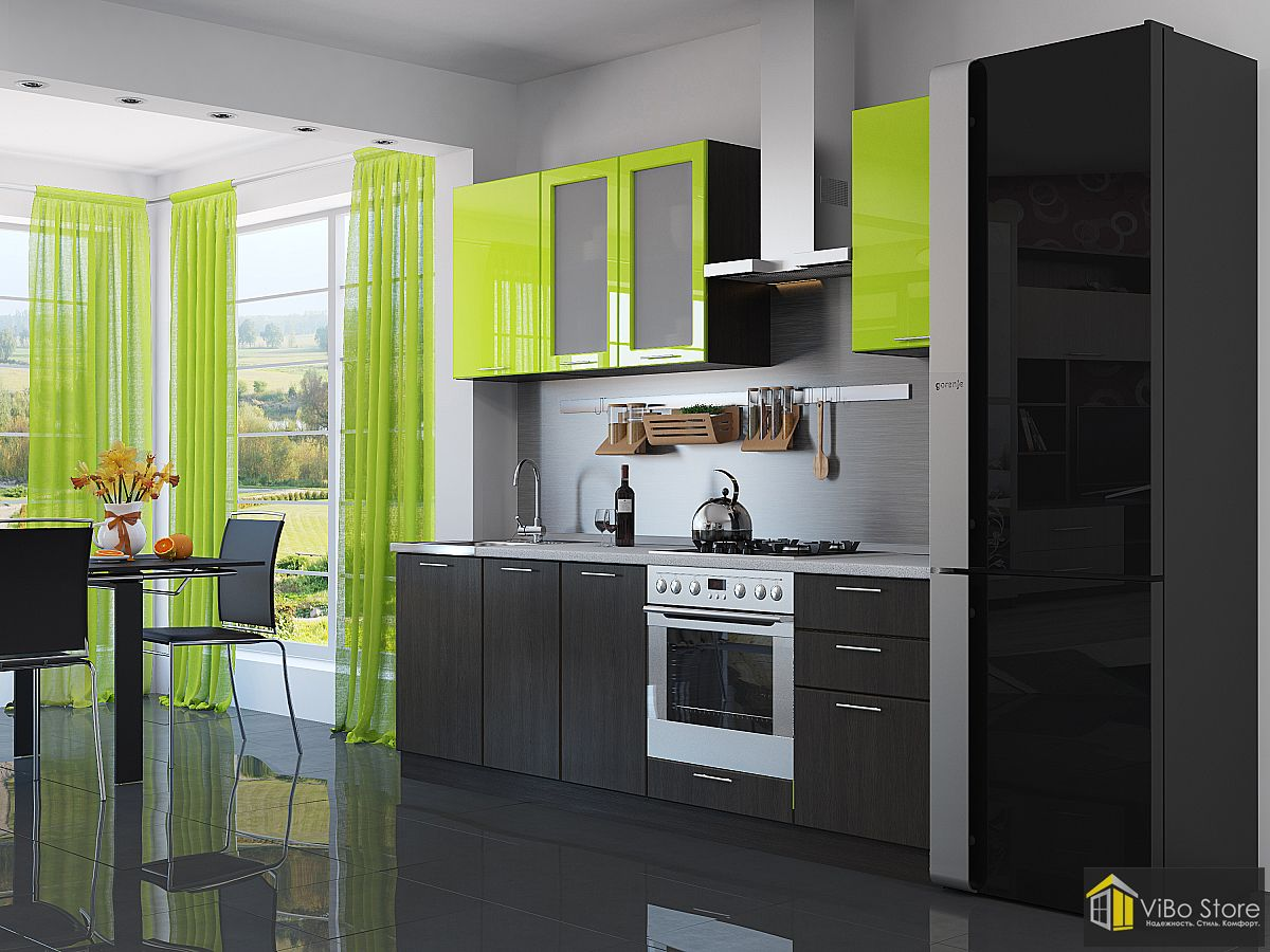 Валерия-М-03 21698. Современная кухня лайм глянец