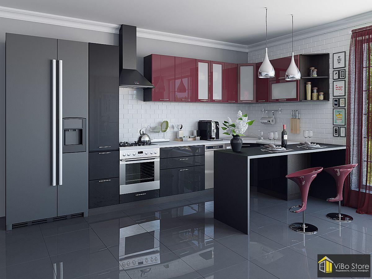 Валерия-М-05 21706. Современная черная кухня хай тек