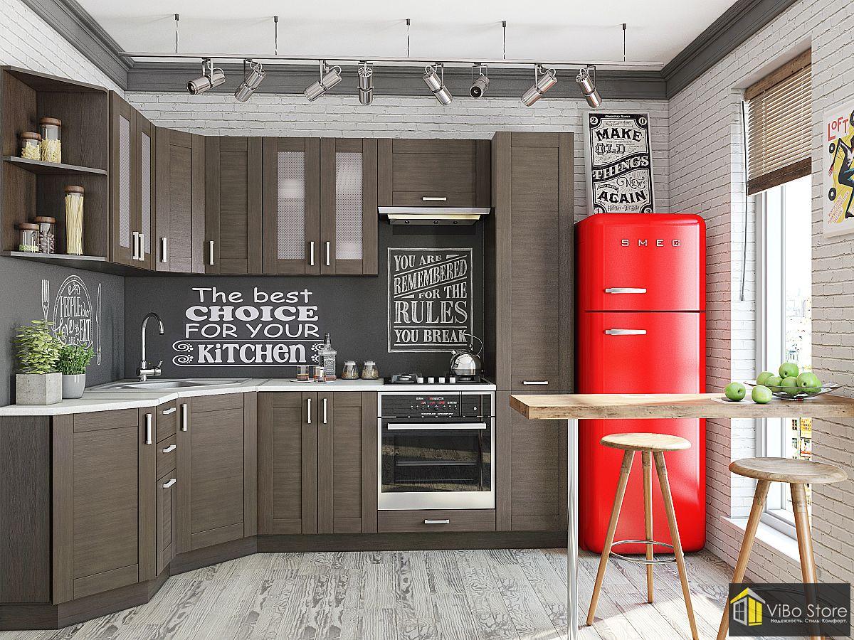 Угловая кухня модерн в коричневом стиле