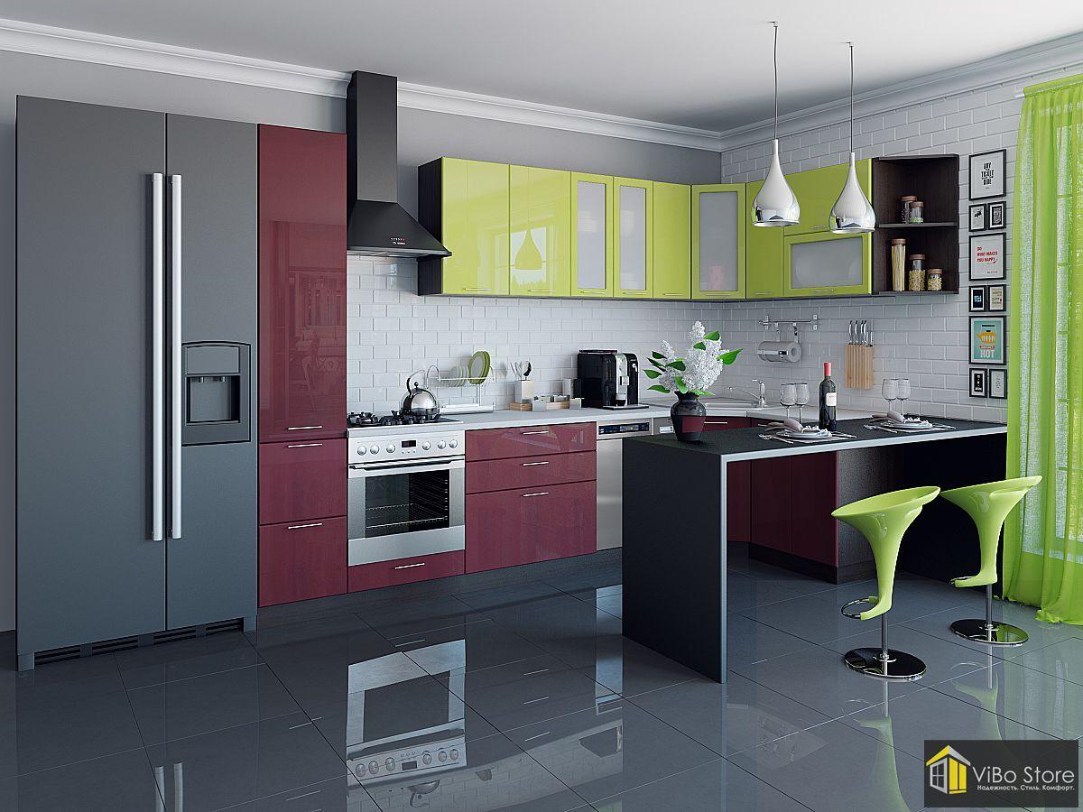 Современная угловая глянцевая кухня эконом-класса