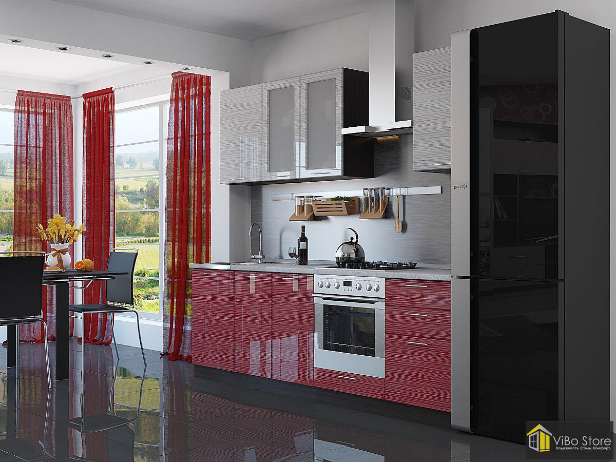 Компактная глянцевая современная кухня с фасадом красный страйп