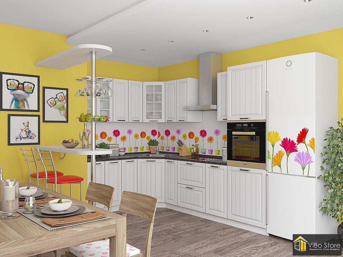 Угловая белая классическая кухня с шкафами