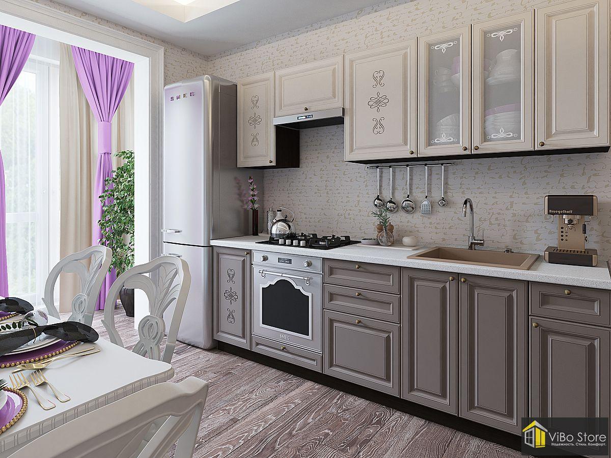 Кухня в классическом стиле серого цвета