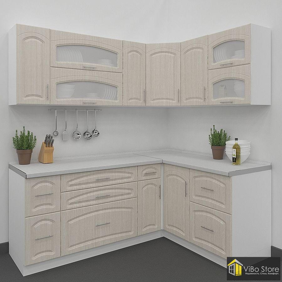 Недорогая модульная кухня с фасадом беленый дуб