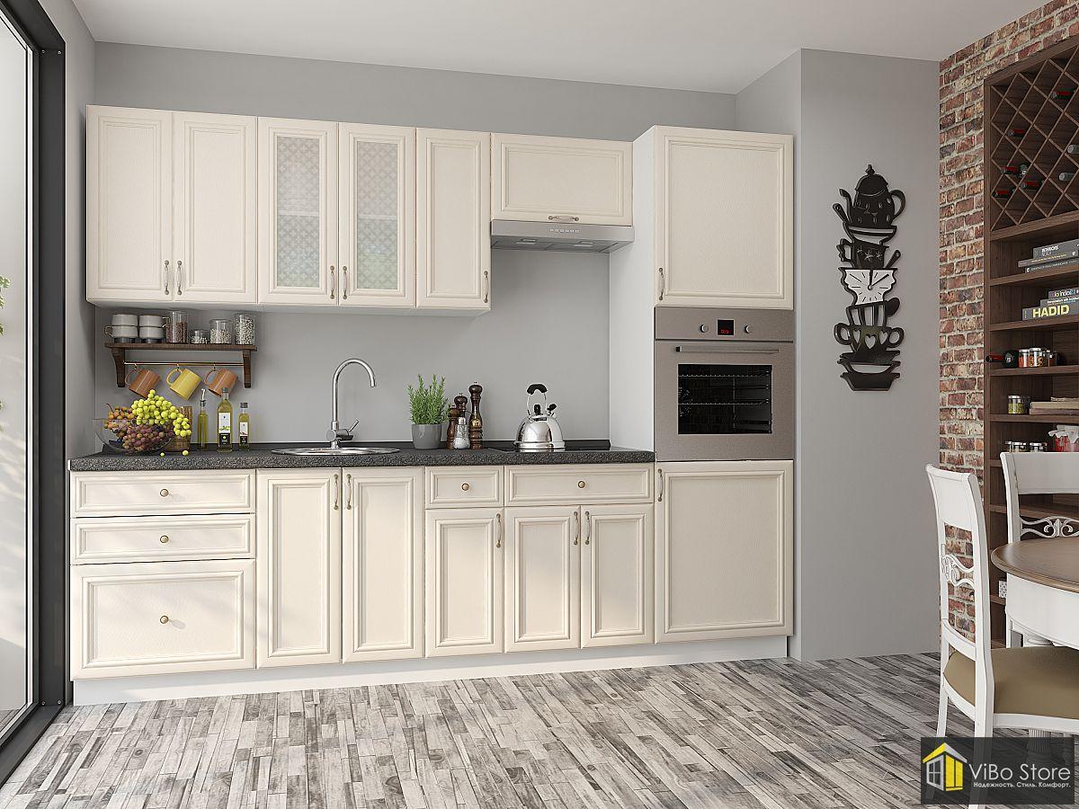 Прямая модульная кухня в стиле кантри