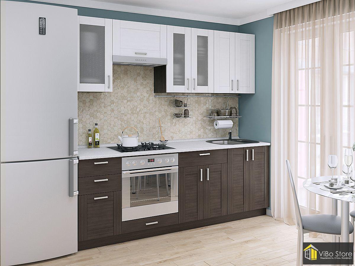 Модульная кухня с фасадом венге и серой столешницей (snow veralinga)
