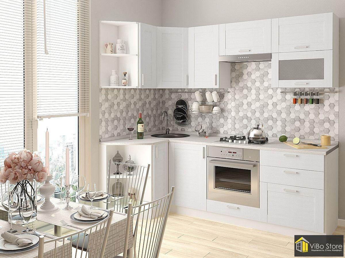 Белая недорогая модульная кухня с серой столешницей