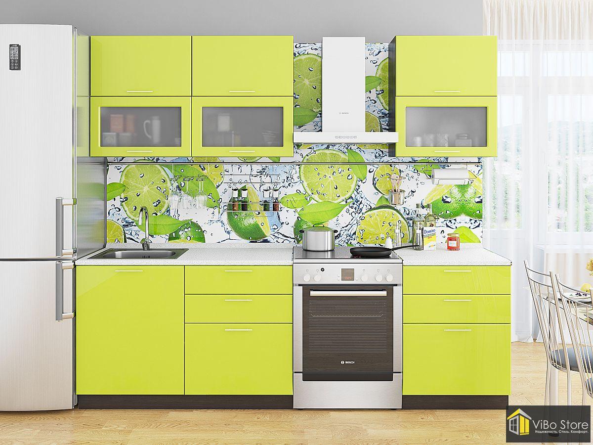 Кухня с ярким дизайном лайм глянец