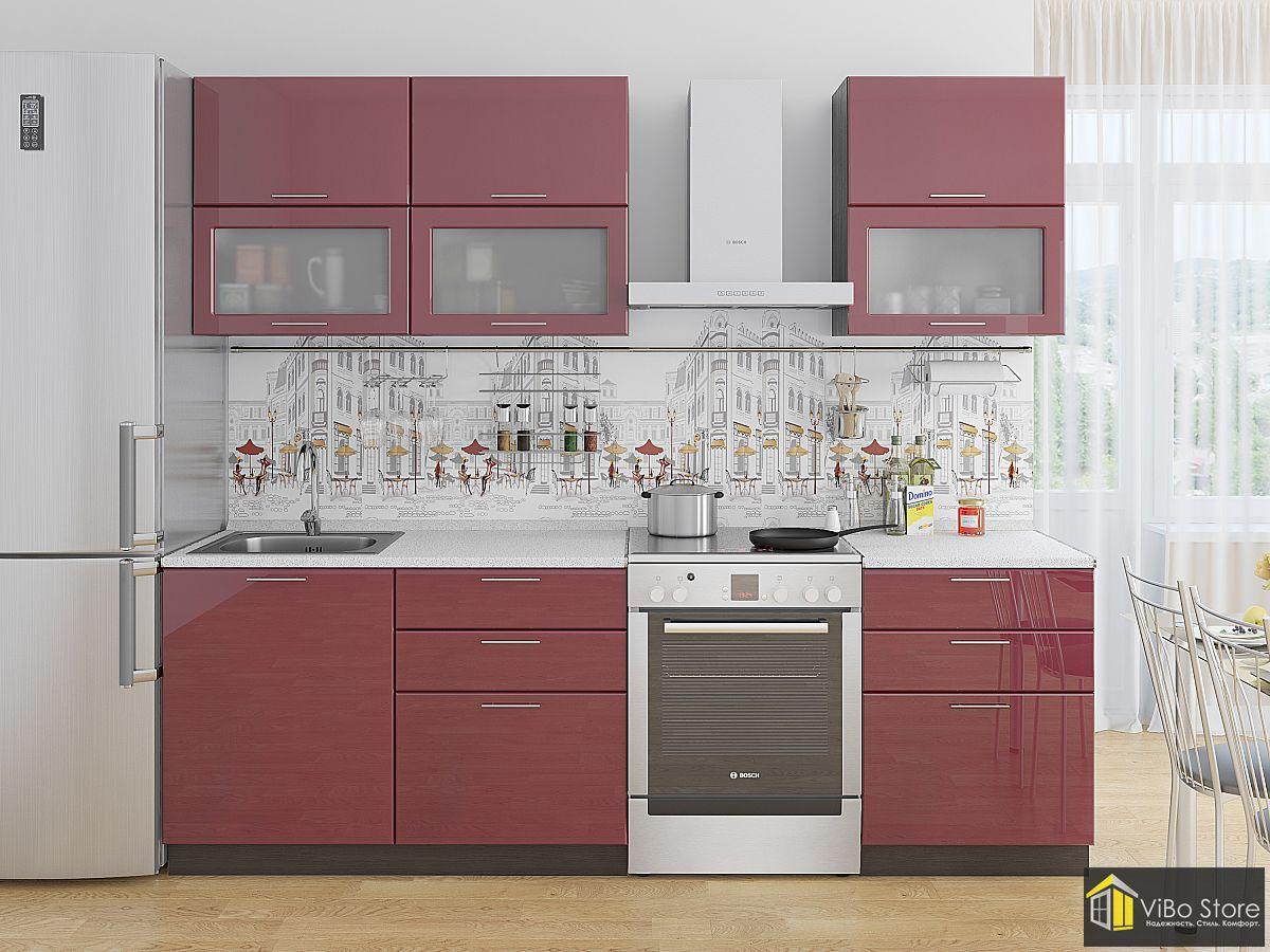 Модульная современная кухня бордовый глянец