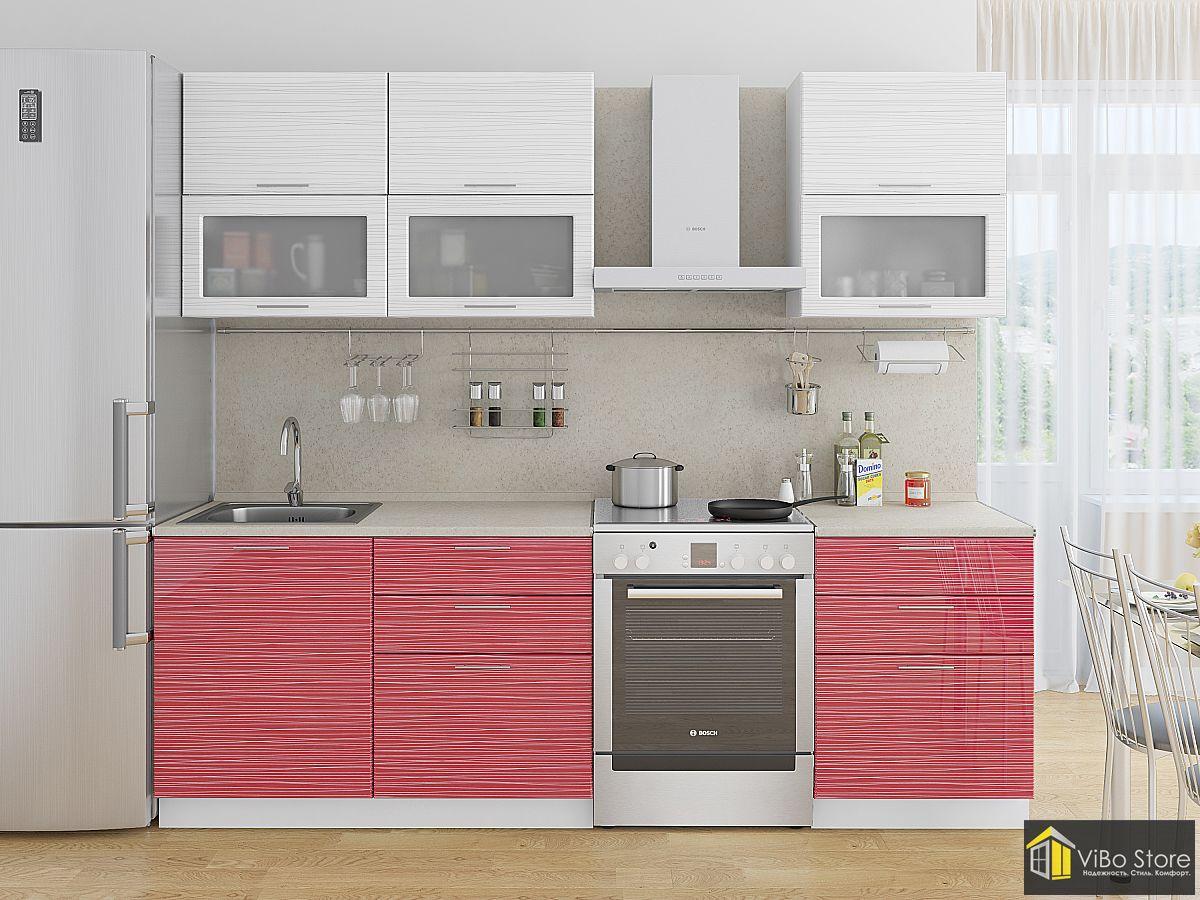 Прямая кухня эконом белый-красный страйп