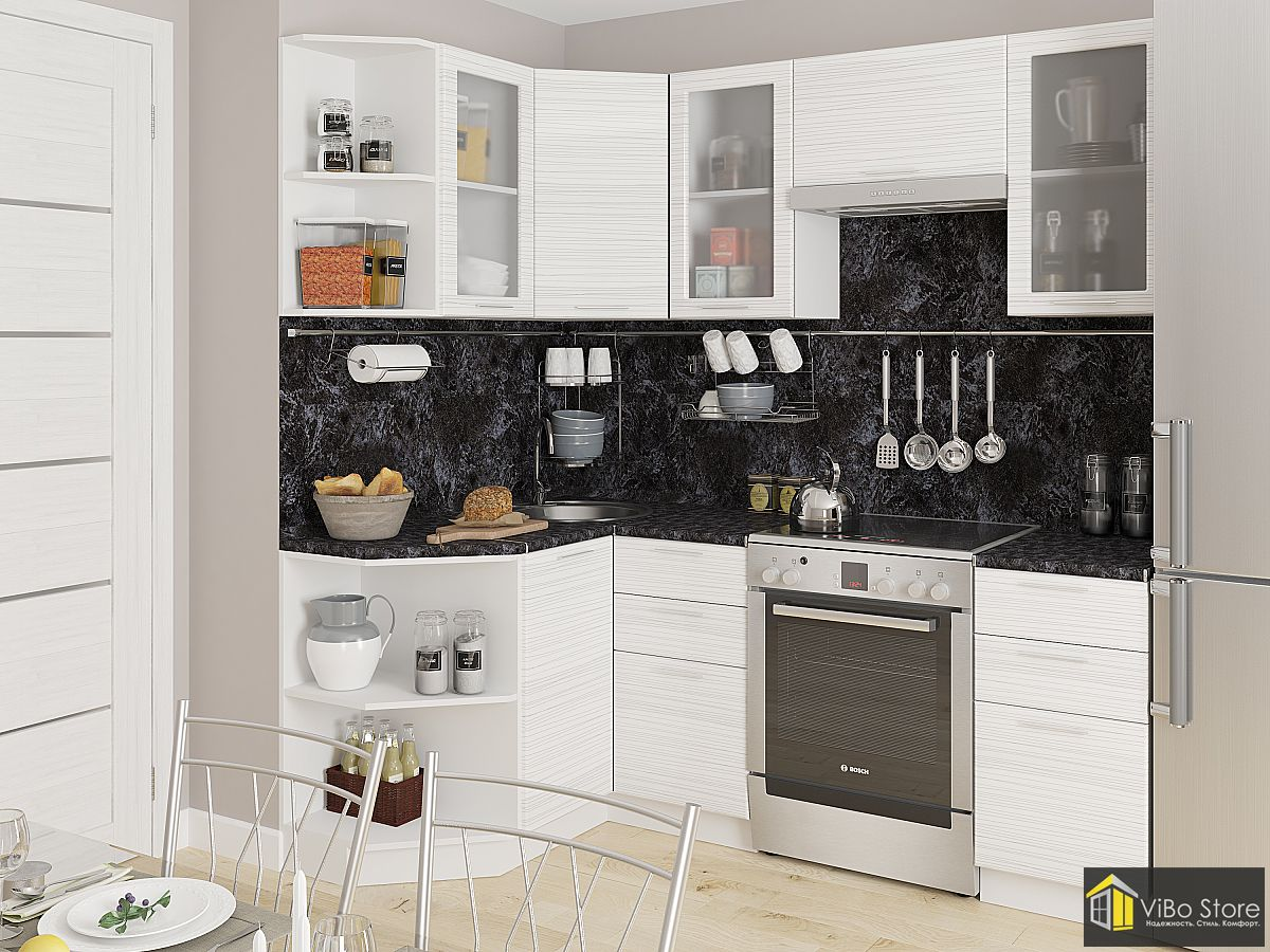 Современная компактная кухня белый глянец страйп ЛДСП