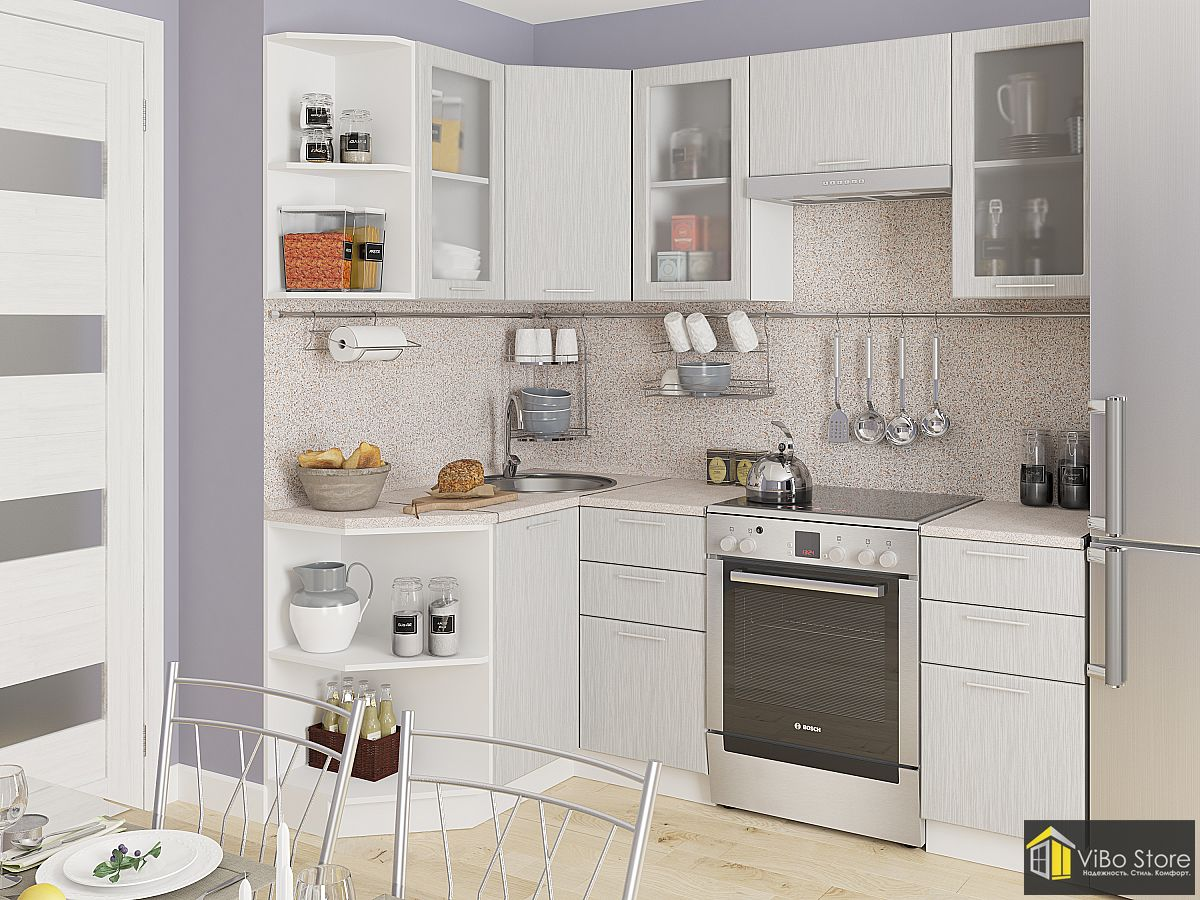 Хорошая недорогая кухня фасад серый металлик дождь