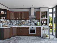 красивая угловая кухня темный орех
