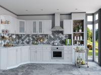 Бежевая классическая угловая кухня