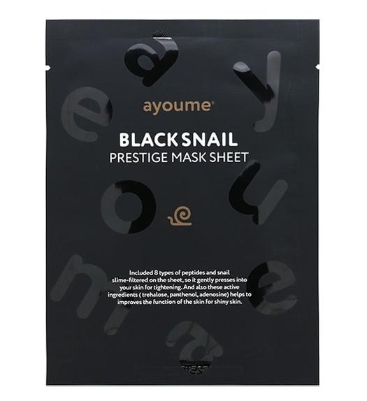 Маска тканевая с муцином черной улитки Ayoume Black Snail Prestige Mask Sheet